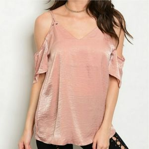 ANNABELLE Cold Shoulder Top Blush Shimmery Small